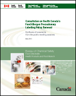 Consultation on Health Canada's Food Allergen Precautionary Labelling Policy Renewal